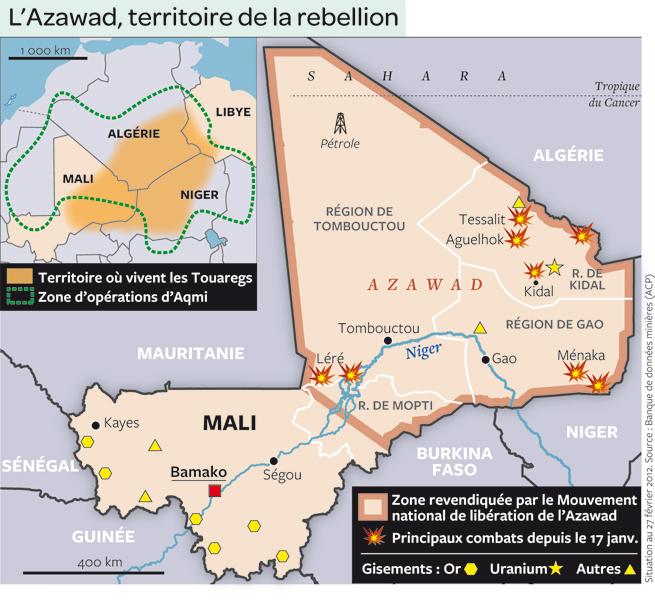 Carte du Mali en guerre