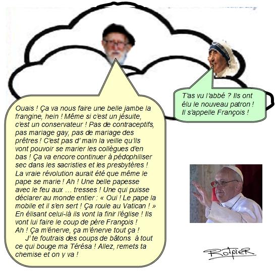 L'actualité vue par le Rotpier nouveau pape l'abbé Pierre et soeur Térésa