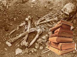 Squelette avec des livres